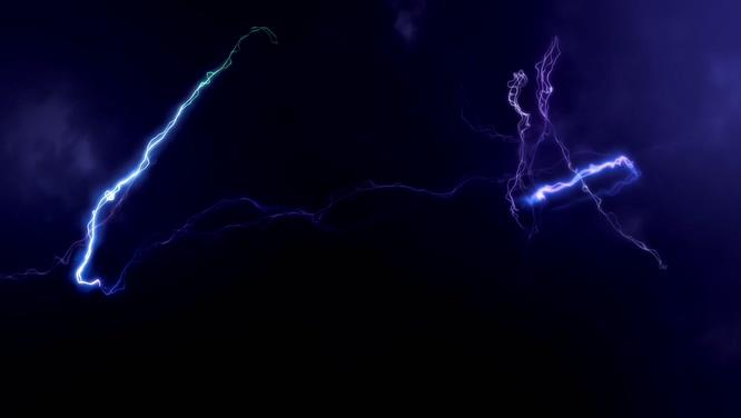 唯美梦幻的紫色闪电视频素材