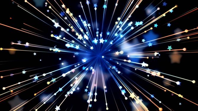 唯美绚丽射线星星光芒视频素材