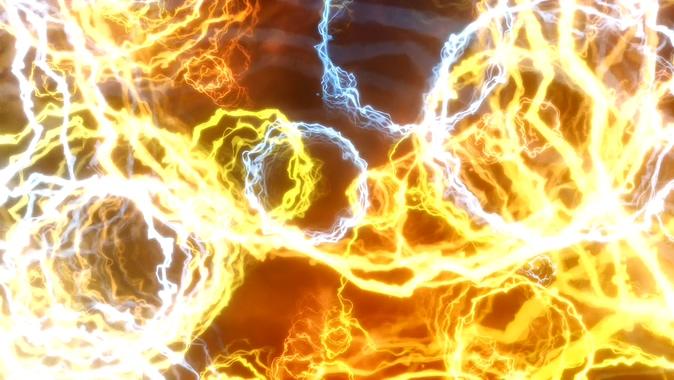 浪漫唯美的黄色电流火光视频素材