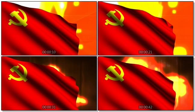 火红的党徽国旗随风飘扬的视频素材
