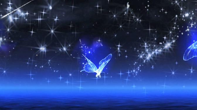 唯美梦幻的蓝色水晶蝴蝶飞舞的星光闪烁视频素材