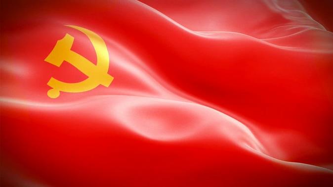 党徽画在红绸上随风飘动的视频素材