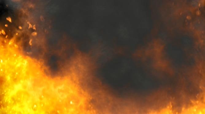 浓烟滚滚的大火燃烧视频素材