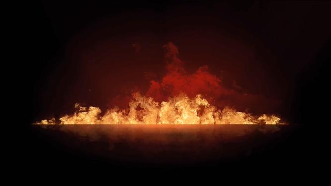 从远处拍摄熊熊大火燃烧的视频素材