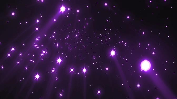 浪漫唯美的紫色梦幻星光飘落视频素材