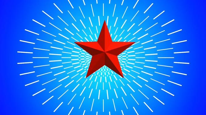 蓝底红色五角星绽放光芒的视频素材