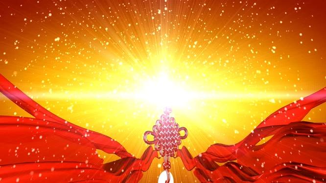 喜庆的红绸中国结雪花飘落视频素材