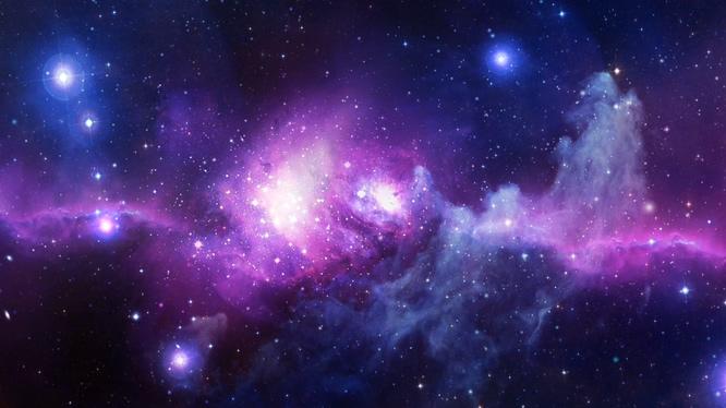唯美梦幻的紫色灿烂星河视频素材