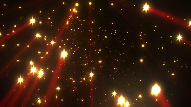 浪漫唯美的金色星光飘落视频素材