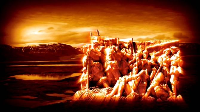 震撼大气的红军解放军雕塑视频素材