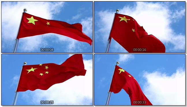 五星红旗在空中迎风飘扬的视频素材