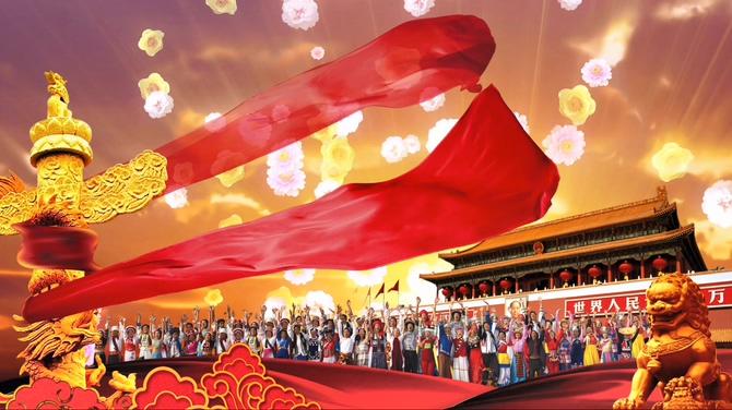 红绸飘扬国人团结的视频素材