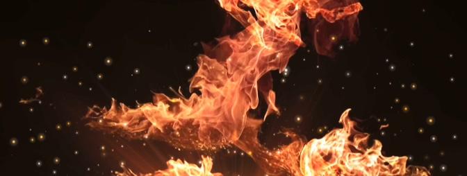 大火燃烧落下金色粒子的视频素材