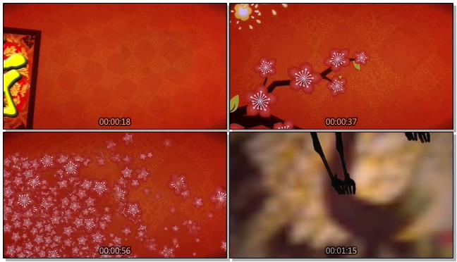梅花盛开的欢乐生日寿宴祝福视频素材