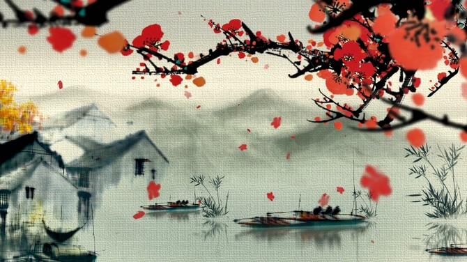江南古镇中梅花飘落的水墨视频素材