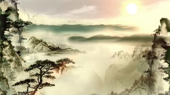 震撼大气的水墨山水画背景视频素材