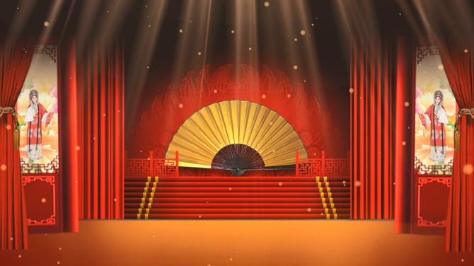 古老的京剧戏台红色幕布视频素材