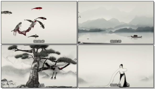 水墨鲤鱼游山水水墨舞蹈视频素材