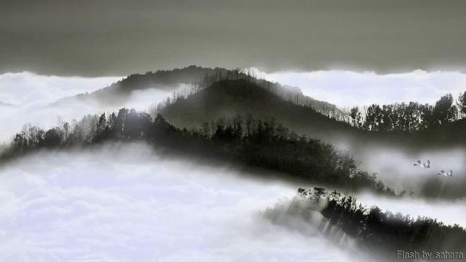 浪漫唯美的云海山水水墨画视频素材