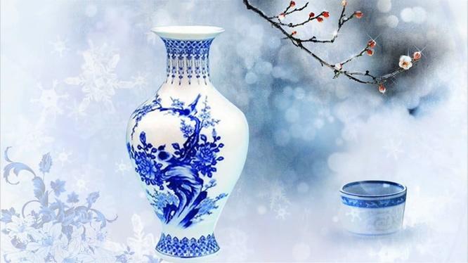 清新淡雅的青花瓷展示视频素材