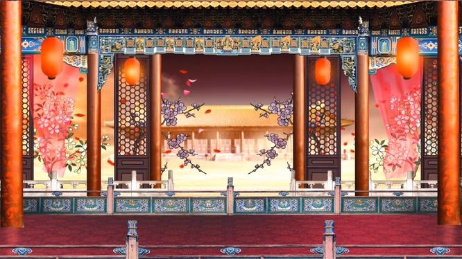 古典梅花飘落的戏曲舞台视频素材