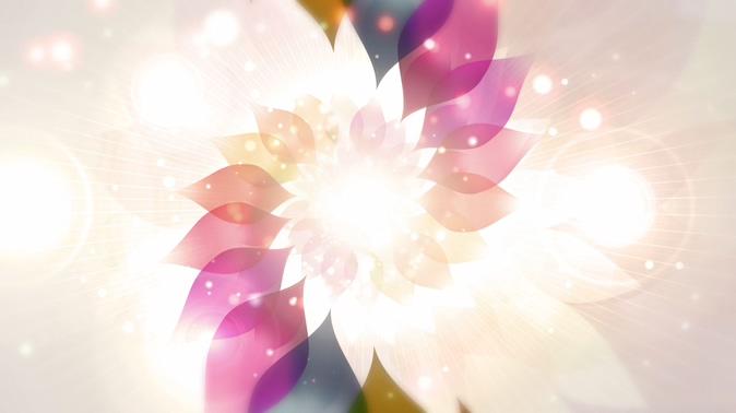 唯美梦幻的彩色八菱花旋转视频素材