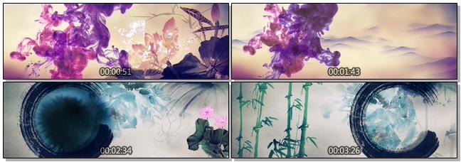 唯美古典的水墨荷花绽放视频素材