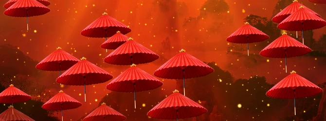 唯美梦幻的红色油纸伞飘散视频素材