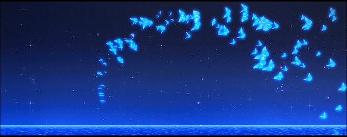 唯美梦幻的蓝色夜空蝴蝶飞舞的视频素材