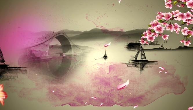 浪漫唯美的水墨小桥流水视频素材