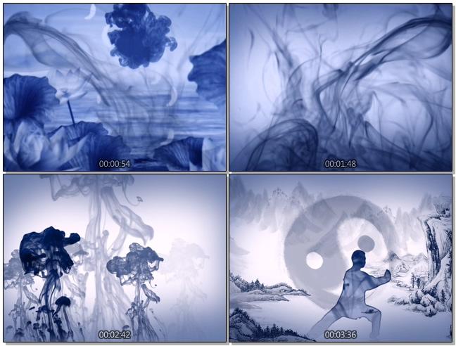 震撼大气的水墨太极功夫展示视频素材