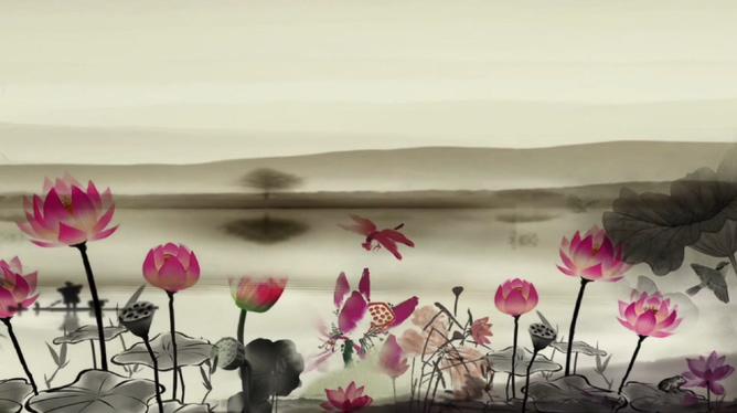 清新淡雅的水墨荷花盛开视频素材