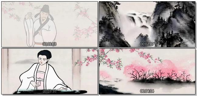 古典唯美的水墨蝴蝶飞舞视频素材