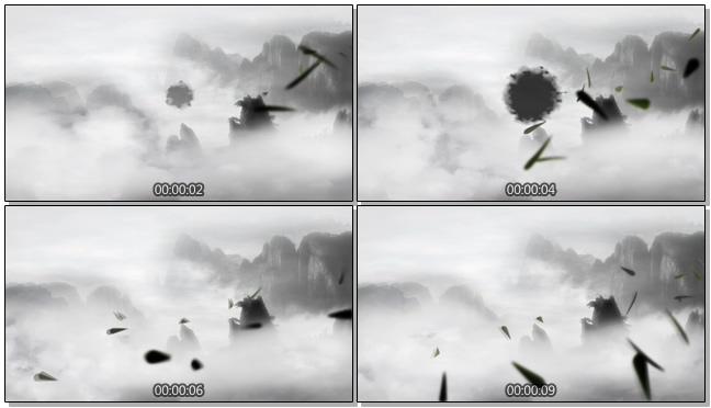 山川云雾环绕水墨画中国风视频素材