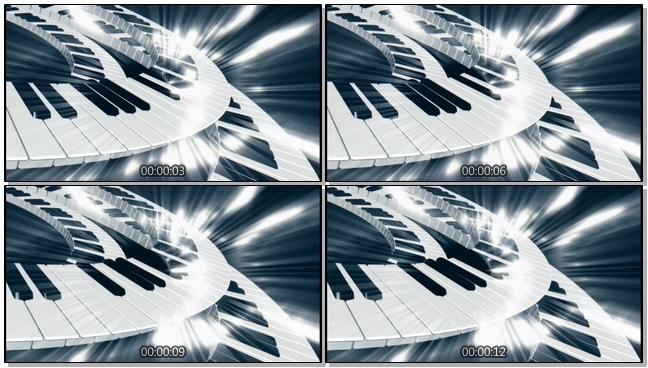 高端的发光钢琴旋转视频素材