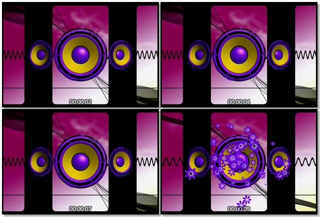 专业音响开成梦幻紫色花朵的视频素材