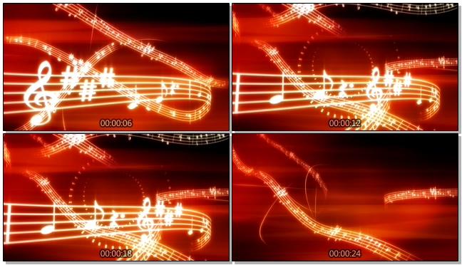 高端大气的金色音乐符号飘动视频素材