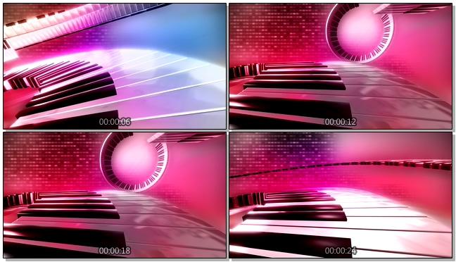 浪漫唯美的粉红色钢琴阶梯视频素材