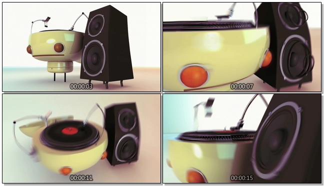音乐点唱机机器人跳舞视频素材