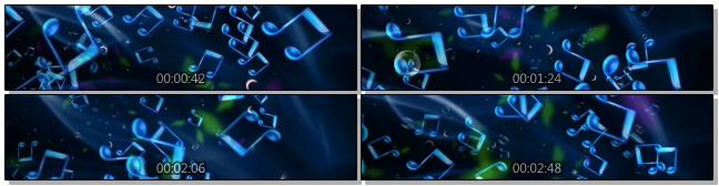 唯美梦幻的蓝色气泡音符视频素材