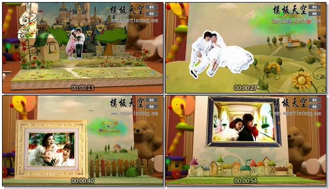 立体贺卡纸片童话恋情情侣婚庆婚礼视频AE模板