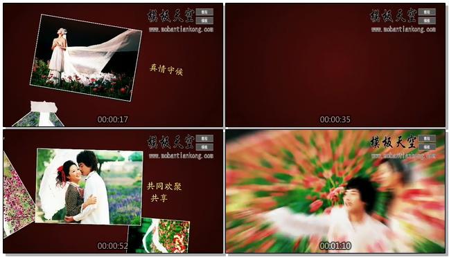 巧克力色恋在花季情侣婚庆婚礼视频AE模板