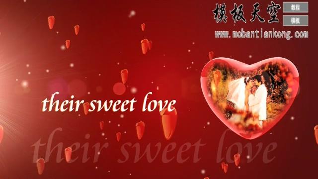 红色甜蜜桃心情侣婚庆婚礼视频AE模板