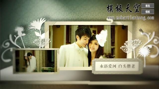 高端白色剪影五月之恋相册婚庆婚礼视频AE模板