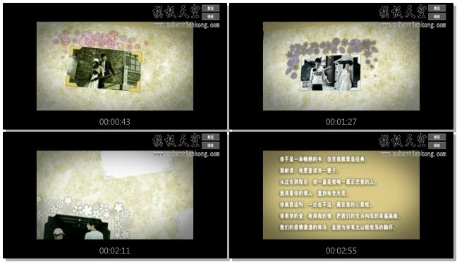 怀旧复古金色花卉婚庆婚礼视频AE模板
