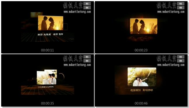 金色夏日微电影回忆婚庆婚礼视频AE模板