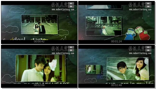 手绘黑板天空想像浪漫八零后婚庆婚礼视频AE模板