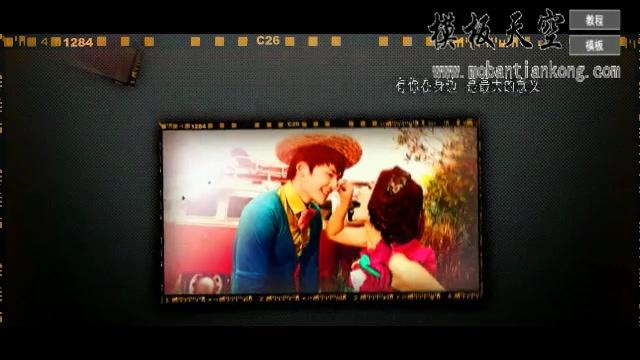 怀旧电影剪辑深色系婚庆婚礼视频AE模板