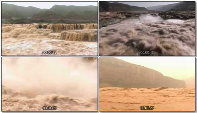 航拍黄河汹涌流动的实拍视频