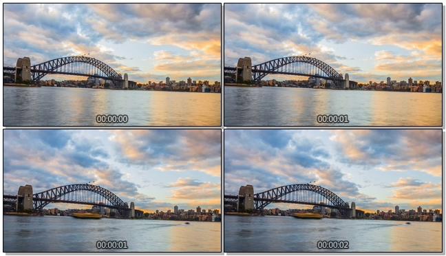 延时拍摄城市游轮行驶的实拍视频